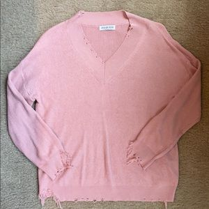 Pink Distressed Sweater!